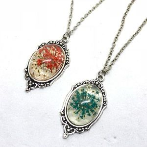 Jewelry - Silver Flower Necklace in Red or Blue
